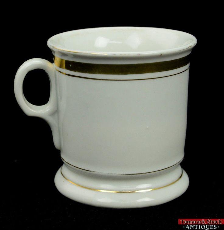 Victorian Porcelain Shaving Mug Classic White W/ Gold Makers Mark Czechoslovakia