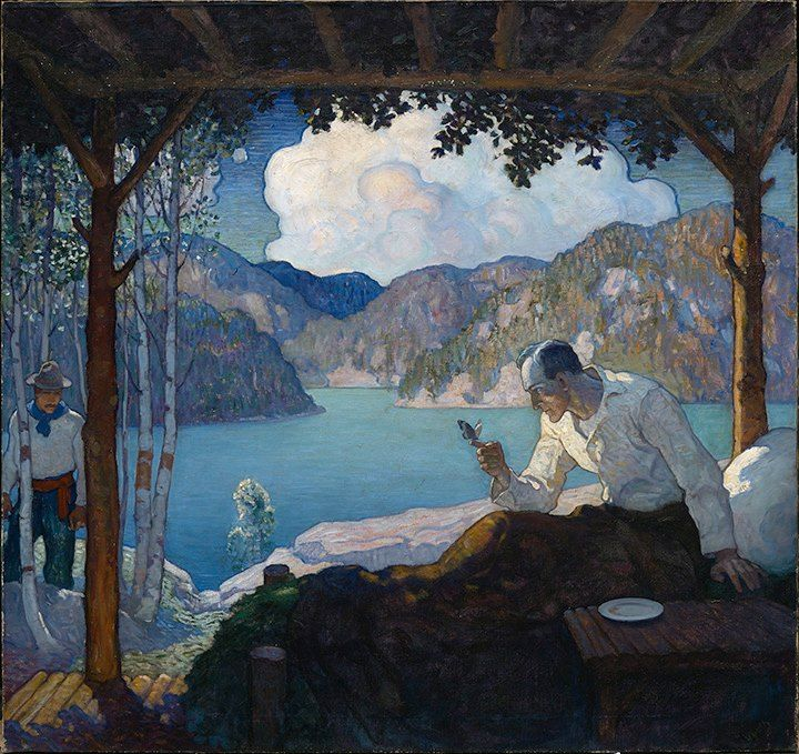 Magnificent NC Wyeth illustration done for Ladies' Home Journal. It has everything: his billowing, palpable clouds, the searing ultramarine landscape of the Adirondacks, the Transcendentalist communing with nature. ~via Illustration House, FB, this is one of the pieces in their March 15 auction