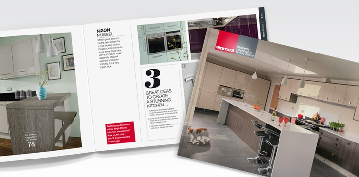 Today Sigma 3 is one of the largest manufacturer and supplier of kitchens and bedrooms in Wales and has one of the most innovative and modern factories for fitted furniture in the UK.  With 10 showrooms around the country, Sigma 3 approached Totality GCS to design a range of brochures, sales guides and point of sale material aimed at raising the profile of the brand nationwide.
