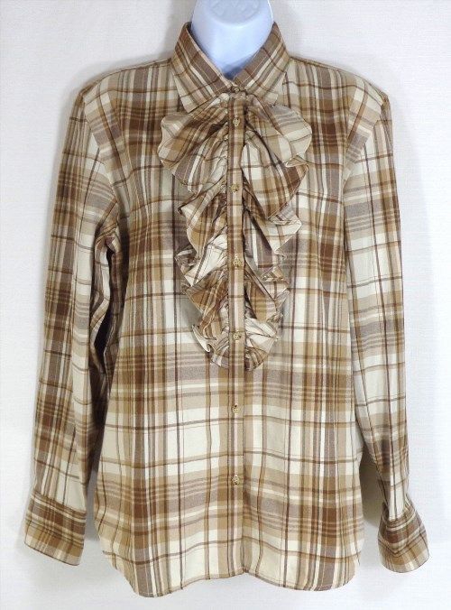 16.82$  Watch here - http://vixfp.justgood.pw/vig/item.php?t=o8dekbm52508 - RALPH LAUREN Women's Shirt Size Large L Plaid Ruffled Brown Long Sleeve Button 16.82$