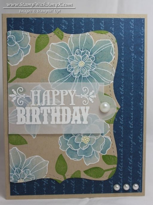 luv this handmade card  ... Freshly Made Sketch #74 ... royal blue patterned paper base ... half of a Crumb Cake Big Shot stramped with Secret Garden flowers embossed in white, painted with craft white ink and colored with blender pens and reinkers ... top layer vellum band with white embossed message beautiful!!! ... Stampin' Up!