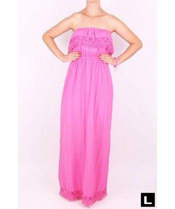Dlhé letné šaty ružové