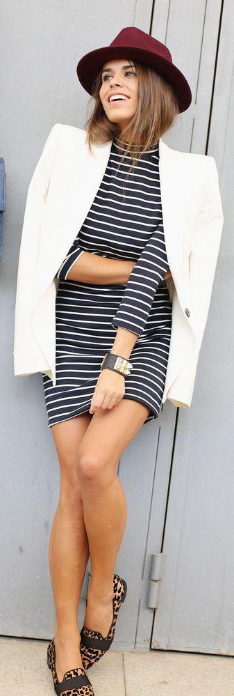 Black And White Nautical Stripe Mini Dress by Seams For a Desire