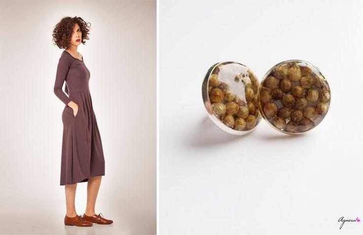 Dark brown dress and brown studs earrings  Dress https://www.etsy.com/listing/174714696/sale-40-off-soft-midi-dress-winter?ref=shop_home_active_10 Studs earrings https://www.etsy.com/shop/Agnera #studs #earrings #brown #botanical #dress #women #fashion