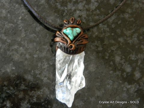 Natural Quartz Crystal pendant with Turquoise