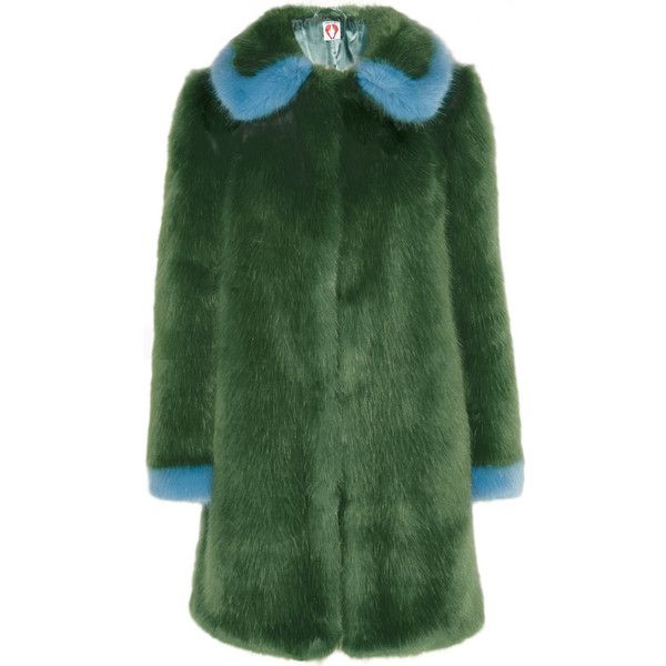 Shrimps Abatha two-tone faux fur coat (£357) ❤ liked on Polyvore featuring outerwear, coats, fur, jackets, coats & jackets, green, imitation fur coats, fake fur coat, green coats and shrimps coat