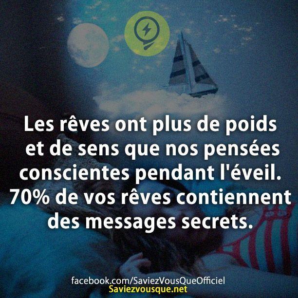 Les rêves ont plus de poids et de sens que nos pensées conscientes pendant l'éveil. 70% de vos rêves contiennent des messages secrets. | Saviez-vous que ?