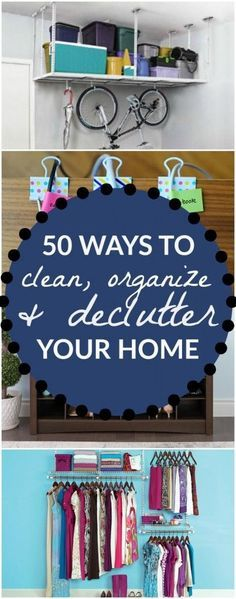 Organization ideas for the home - 50 Ways To Declutter, Organize and Clean Your Home, Room By Room. Great ideas to clean and organize the living room, bedrooms, bathrooms, garage, kitchen and more. Love these home organization tips!