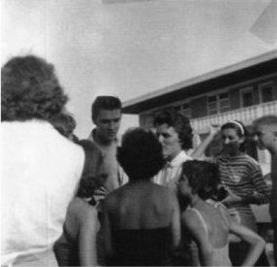 Elvis with fans at the Copacabana Motel in Daytona Beach - August 9, 1956 Photo courtesy FECC/Pep