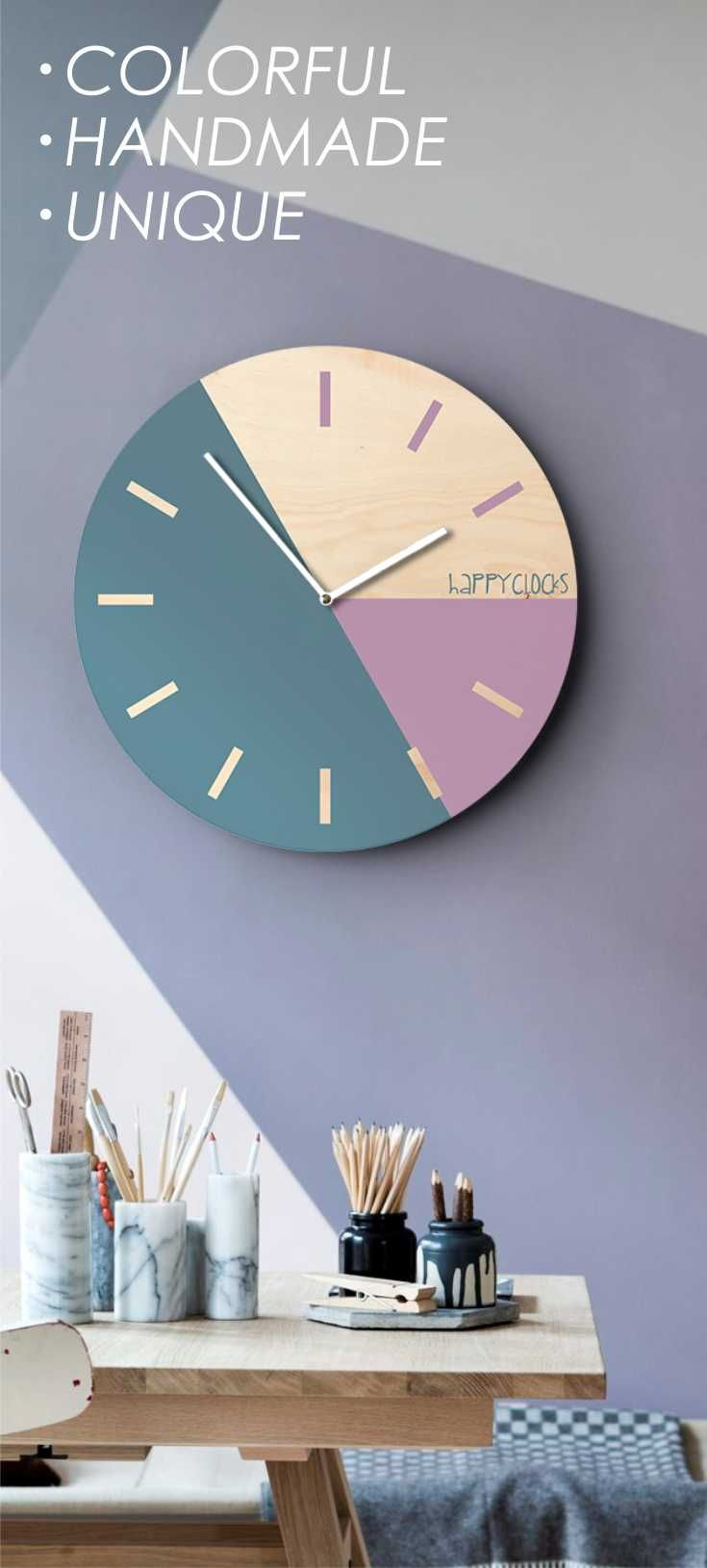 Modern wall clock turquoise purple home decor pastel colors