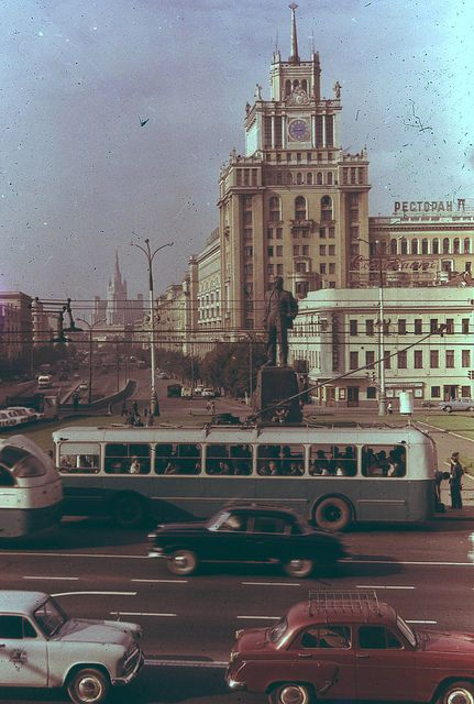 m. Mayakovskaya 1968 Moscow. and at the end of the street we can see the University of Lomonosov.