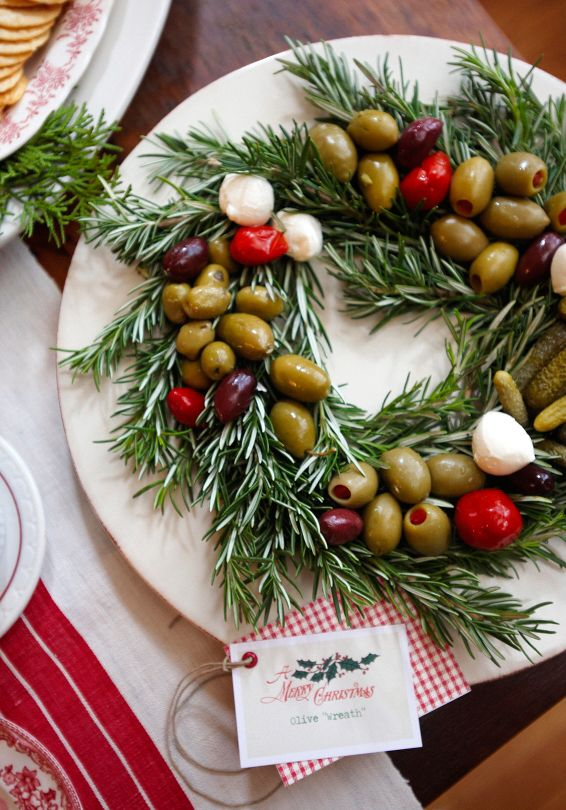 The Prettiest Way to Serve Olives at a Party: On a Bed of Rosemary!