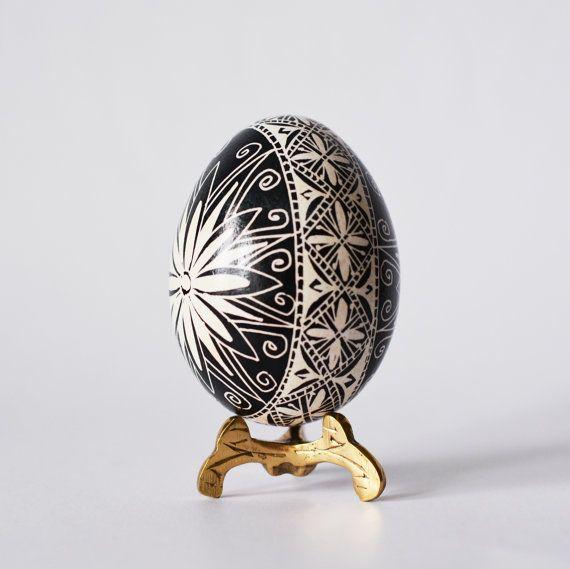 Pysanka Ukrainian Easter egg black and by UkrainianEasterEggs