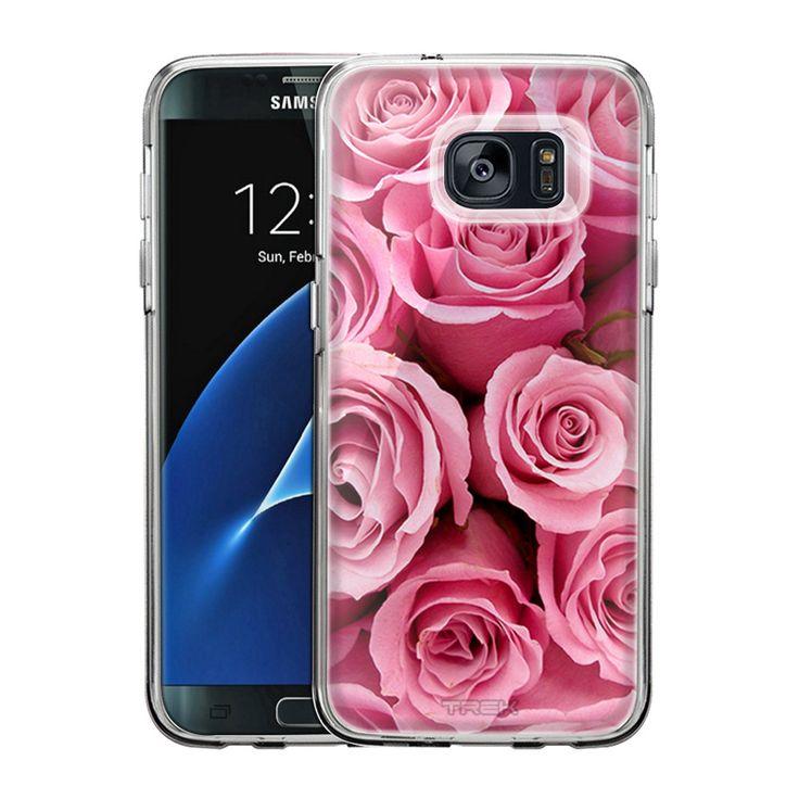 Samsung Galaxy S7 Edge Beautiful Pink Roses Print Flowers Slim Case