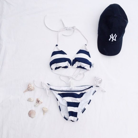 Forever 21 | Nautical bikini set Good condition! Some discoloring around edges, but barely noticeable. Only worn a few times. Padded. Price is for both top and bottoms. Forever 21 Swim Bikinis