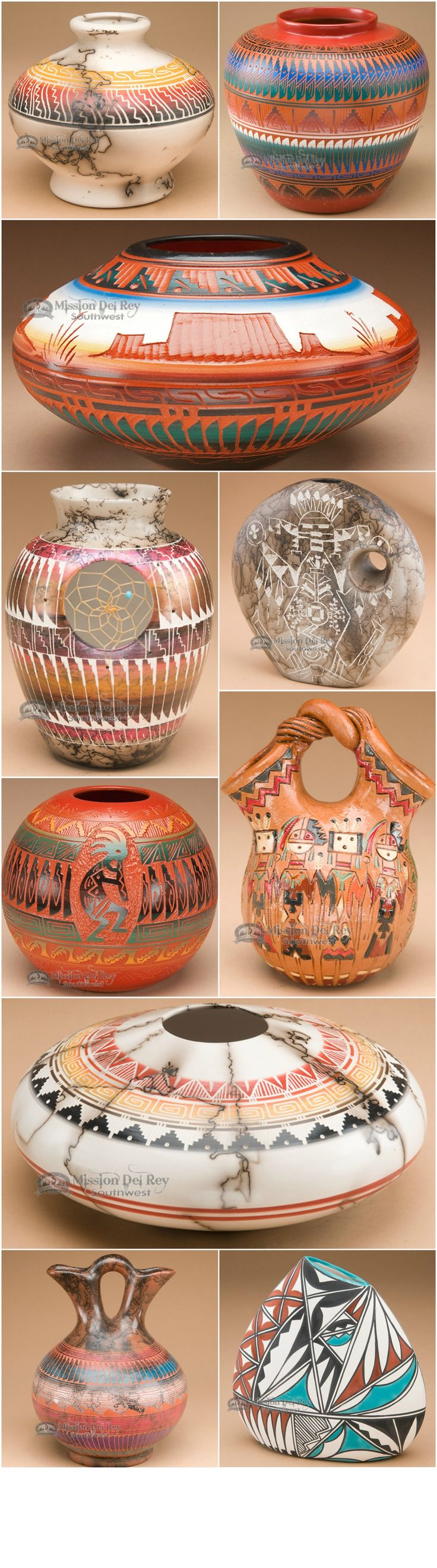 American Indian pottery is very popular among collectors of southwest and western pottery. Each piece of Indian pottery is handcrafted to make a unique piece of southwestern art. Horse hair pottery made by the Navajo Indians is a popular style, but getting harder to find. The wedding vase is also a very significant piece because of what it represents.