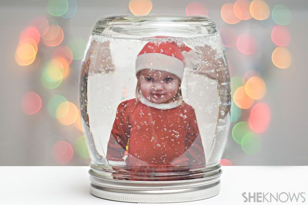 DIY photo snow globe in a jar
