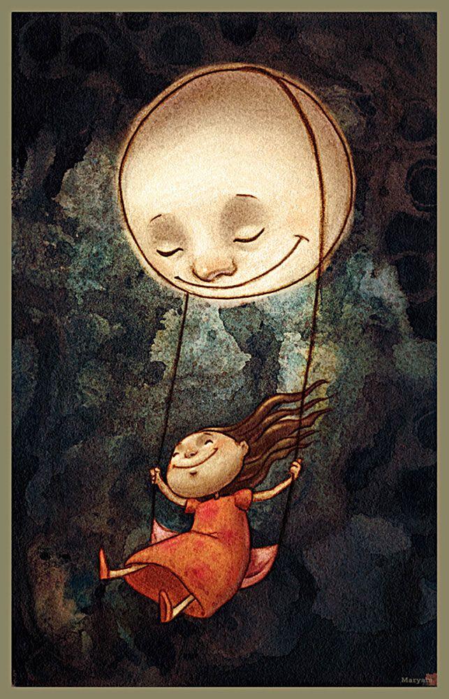 Pinzellades al món: Gronxant-se amb la lluna / Columpiándose con la luna / Swinging with the moon #ilustracion #infantil #dibujo