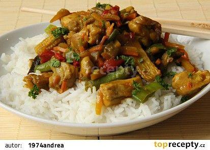 Kuřecí maso na kari s rýží, zeleninou recept - TopRecepty.cz