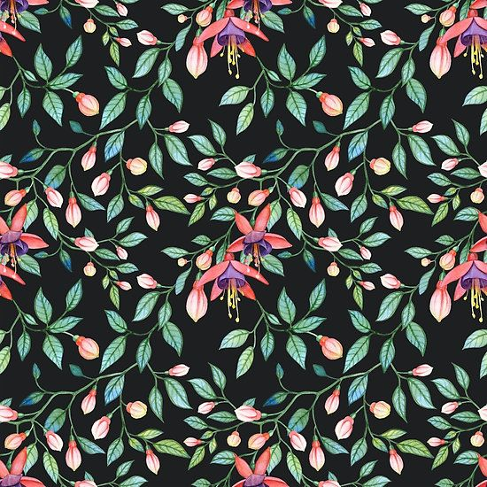Flower pattern. Fuchsia