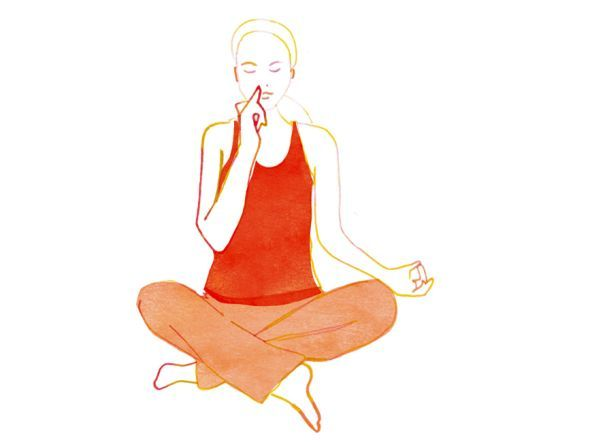 Wechselatmung  Im Schneidersitz den Rücken aufrichten und lang machen, Scheitel zieht nach oben, Steißbein Richtung Boden. Linken Arm auf dem Knie ablegen, Daumen- und Zeigefingerspitze berühren sich – das Gyan Mudra. Handfläche zeigt nach oben. Rechten Ellbogen nach unten sinken lassen, Schultern entspannt. Augen schließen. Mit dem Daumen der rechten Hand nun das rechte Nasenloch verschließen, durch das linke tief einatmen. Dann mit dem Ringfinger das linke Nasenloch verschließen, zugleich…