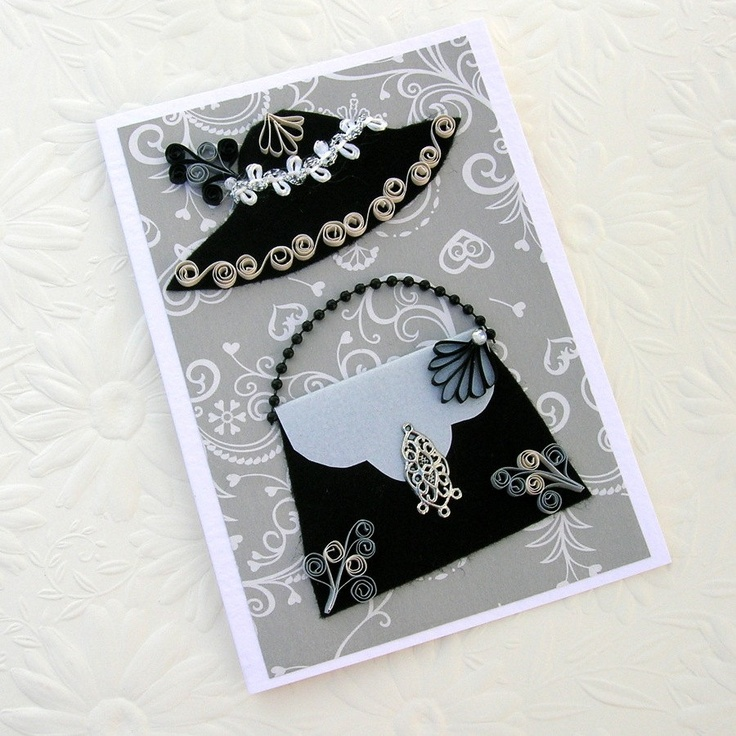 Quilling Greeting Card Paper Quilled Black Felt Vintage HAT and HANDBAG  -- Handmade by Enchanted Quilling on Etsy.
