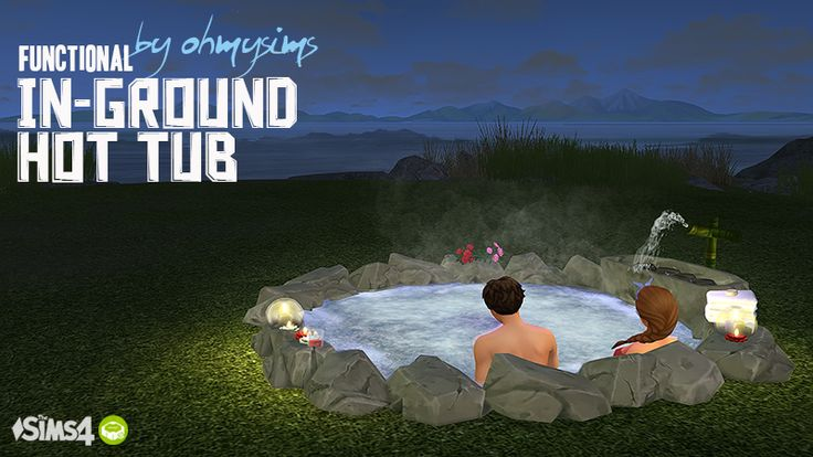 Functional In-ground Hot Tub Finally! I converted my favorite TS3 hot tub into functional TS4 object. As you see, the hot tub works the same as EA hot tubs even though it is IN ground! • I resized and edited the original mesh and replaced the rocks...