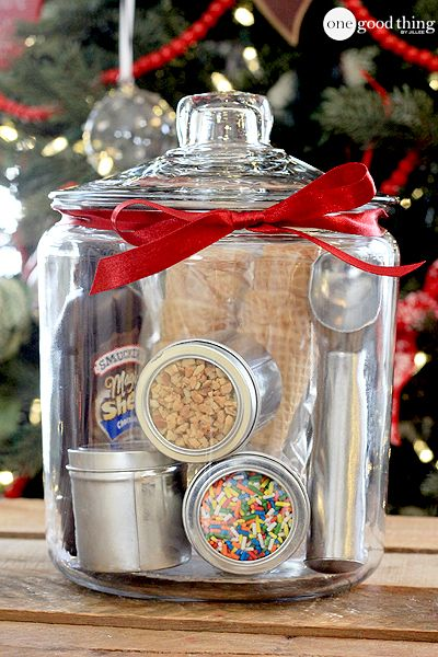Gifts In A Jar just add ice cream! Creative and fun and not a pain in the ass to do