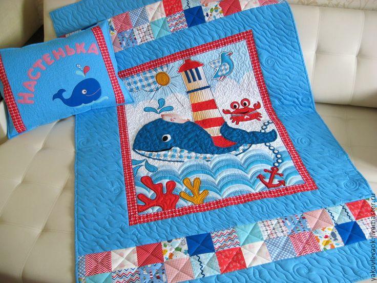 """Комплект для детской """"Рыба-кит"""" - лоскутное одеяло,детское лоскутное одеяло"""