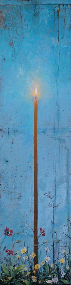"""Ζωγραφική μαρτυρία μιᾶς διαδρομῆς αὐτογνωσίας ἀπό τή μαθητεία στό πραγματικό ὢς τούς πειρασμούς τοῦ ἀόρατου κι ἀπό 'κεῖ, στά στοιχειώδη ἀγαθά μιᾶς λιτῆς εὐημερίας. Ζητούμενο, νά λάβει πνευματική οὐσία ἡ θνητή ὓλη, ἠ ἢδη φθαρμένη ἀπό τή βιωτική μέριμνα καί τή χρήση τοῦ χρόνου. Νά ὀρθωθεῖ νόημα ἀθανασίας στήν παράσταση τοῦ ἐφήμερου, μέ τή βαθειά πεποίθηση ὃτι ἓνα φωτεινό παραπέτασμα στό χάος εἶναι ἡ ζωγραφική καί """"ὂψις ἀδήλων τά φαινόμενα"""".Χρηστος Μποκορος..."""