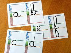 Débuter en écriture cursive en maternelle et au CP sur lignage feu / terre / herbe / ciel. Affichage alphabet pour la classe, fiche d'écriture cursive vierge à imprimer. Ligne du feu, ligne de terre, ligne de l'herbe, ligne du ciel. maitrefrancois.com