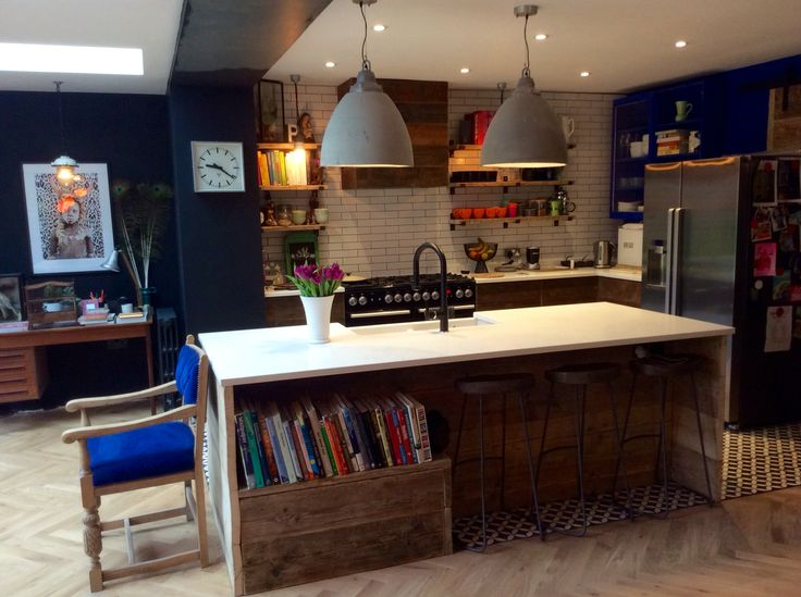 Industrial Kitchen with concrete lights and scaffold board island and shelves