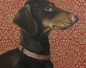 """Noble, Brown and Black Dachshund Dog With Fancy, Red Patterned Collar, Signed 22"""" x 32"""" Print  by Painter, Clair Hartmann"""