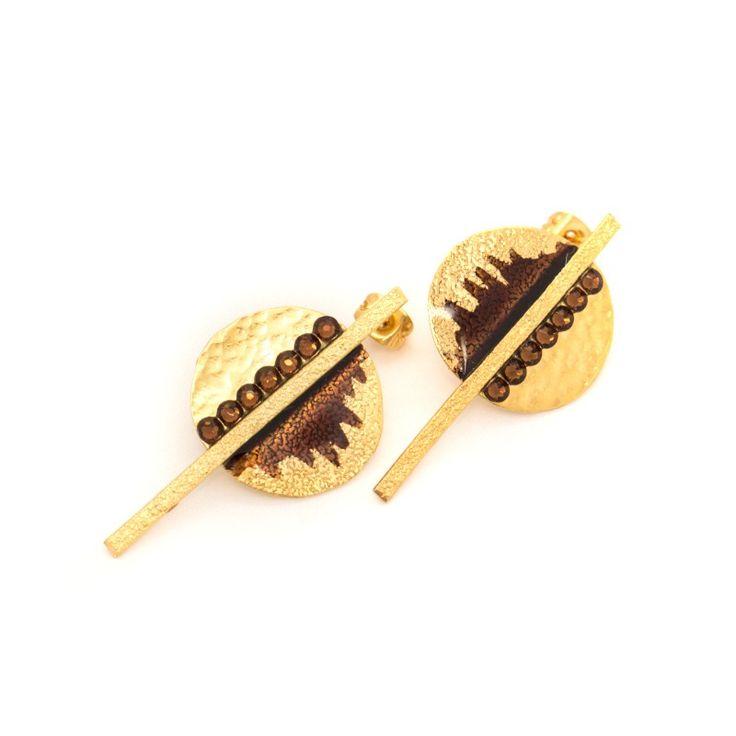 Earrings bronze gold plated SMALTO 2 www.bijoubox.gr  #bijoubox #earring #bronze  #gold #brown #handmade #greece #greek #jewelry #jwl
