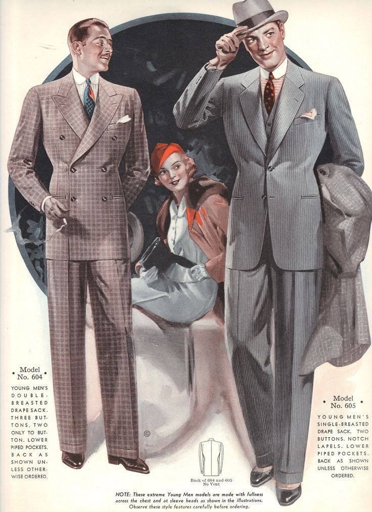 Shacoya Trotter ... Men's silhouettes during 1935-36 consisted of a double breasted shoulder padded jacket with full pants.