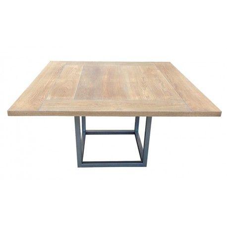 Table de salle à manger design à rallonges Duetto megeve : Table carrée ou rectangulaire design avec plateau en lattes de bois de chêne et piètement en métal. Livraison offerte.