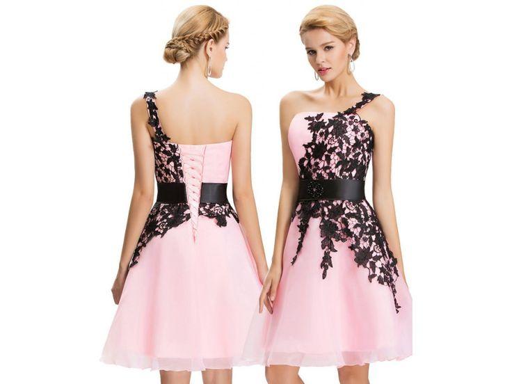 Pink prom dress with black lace *** evening prom dress *** znackove plesove koktejlove saty skladem
