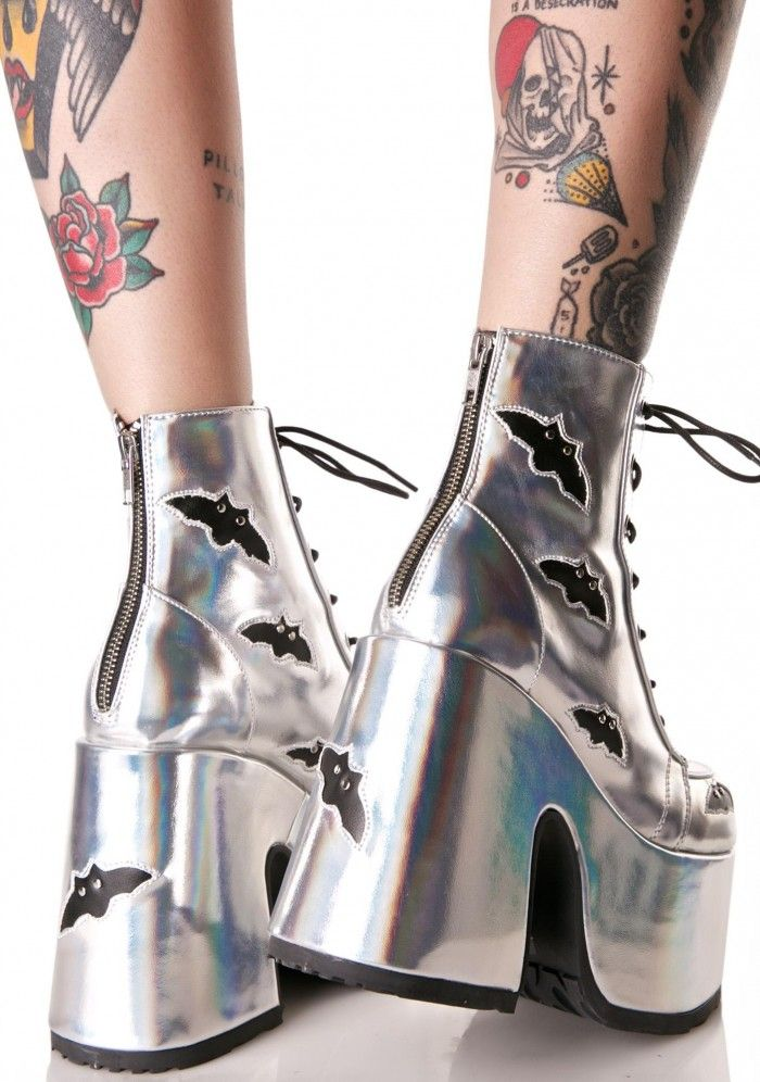 Demonia Holographic Megabat Platform Boots