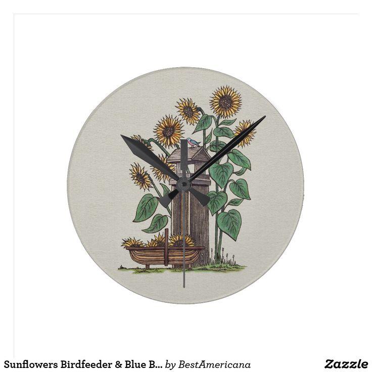 Sunflowers Birdfeeder & Blue Bird Round Clock