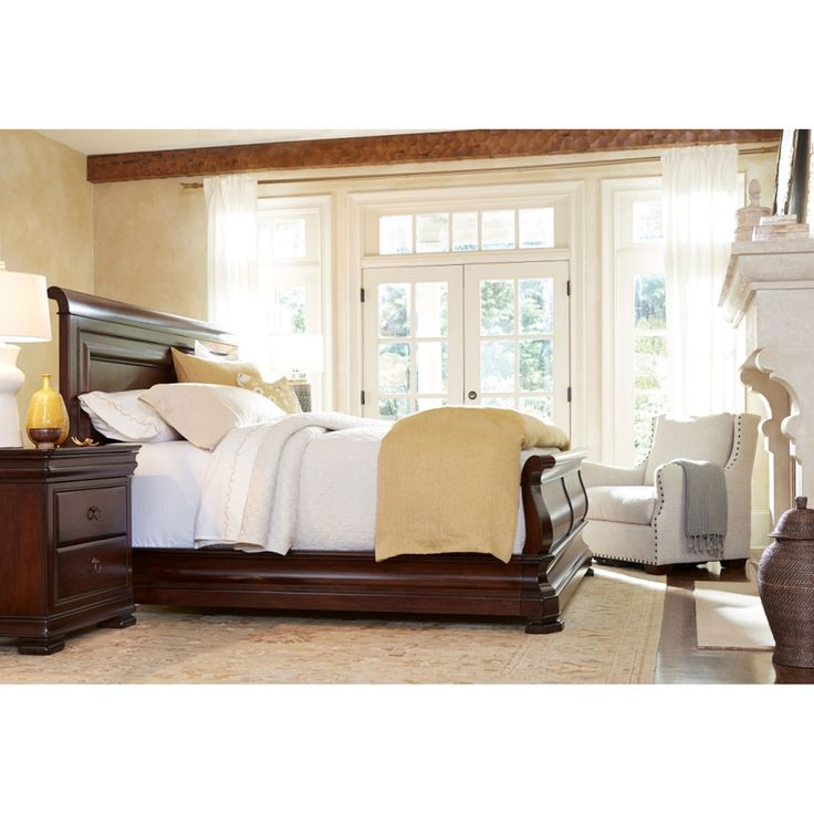 Louie P Classic Cherry Complete King Sleigh Bed Universal Furniture King Sleigh Beds Bedro