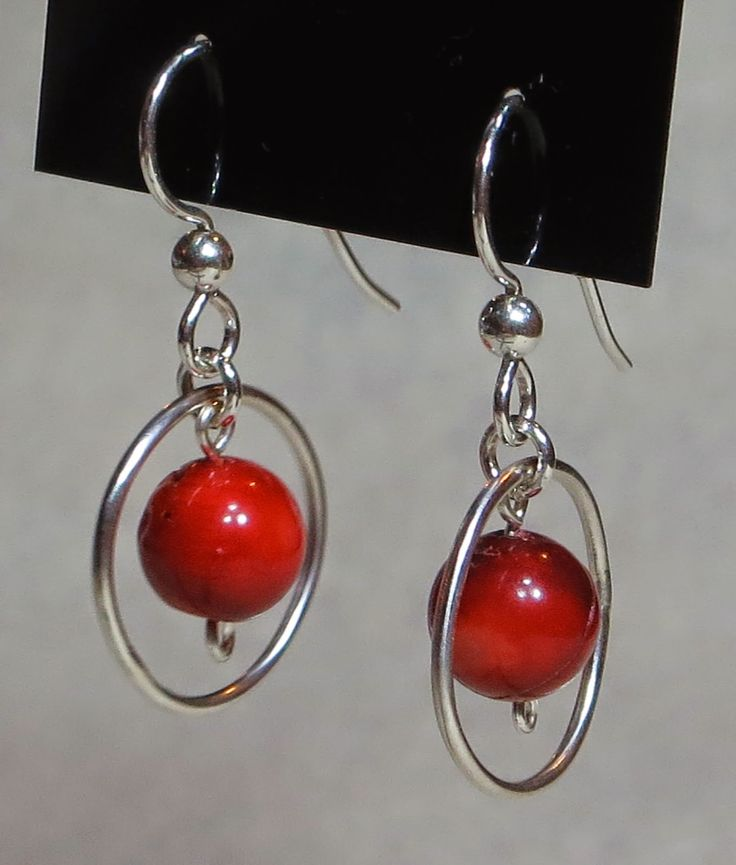 Sterling Silver Circled-Stone earrings with Red Coral.