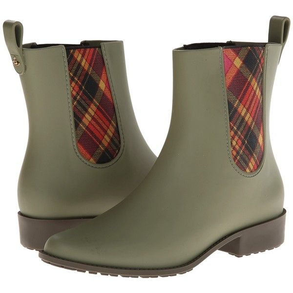 Vivienne Westwood Riding Boot (Green) Women's Pull-on Boots (€81) ❤ liked on Polyvore featuring shoes, boots, green, riding boots, slipon boots, vivienne westwood boots, tartan boots and equestrian boots