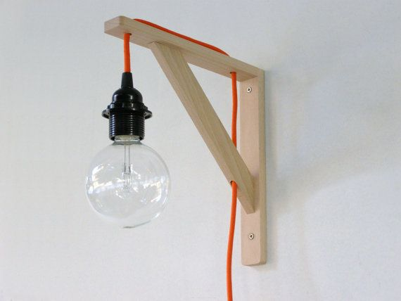 Wall lamp, minimalist wall sconce, wood, fabric wire