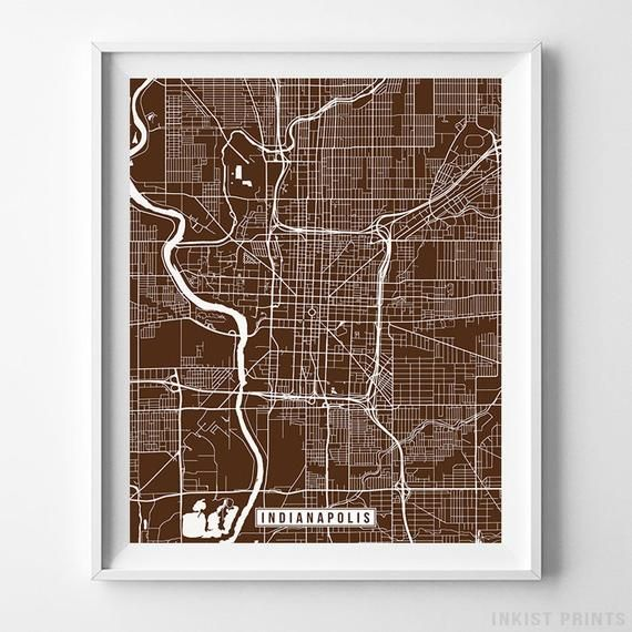 Indianapolis Indiana Map Print Street Poster City Road Etsy Map Wall Art Map Print Street Map