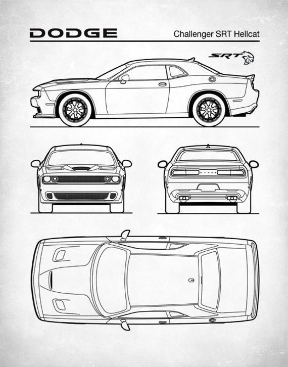 Dodge Challenger Hellcat Blueprint Auto Art Patent Print Dodge
