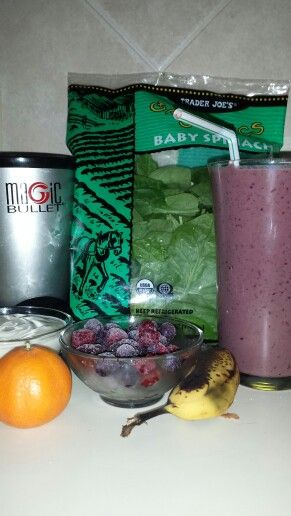 Ingredients:  1/2 an cutie 1/2 c. Frozen fruit 1/2 banana 1 1/2 c. spinach 1/2 c. greek yogurt 1 c. almond milk Directions: Mix all the ingredients together in a magic bullet, nutri bullet, or some kind of bullet mixer.