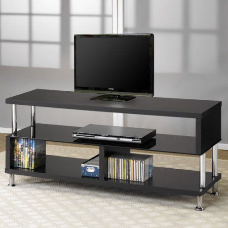 Coaster Chrome TV Console for TVs up to 46 inch, Black