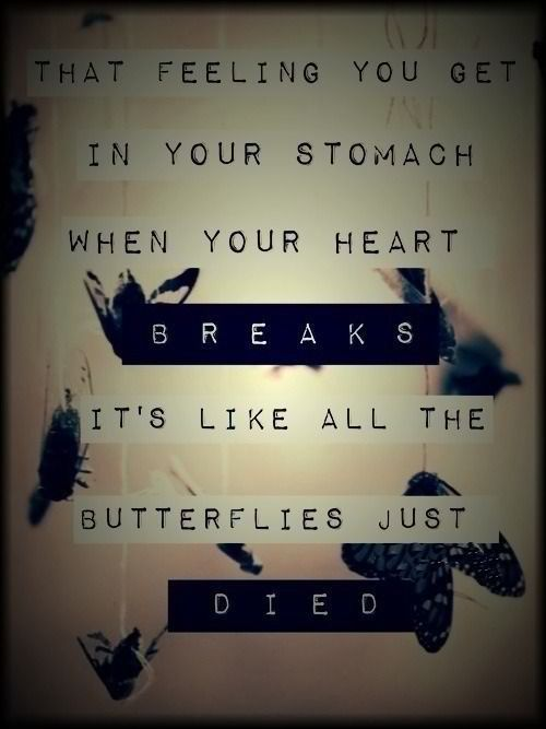 that feeling you get in your stomach when your heart breaks. it's like all the butterflies just died