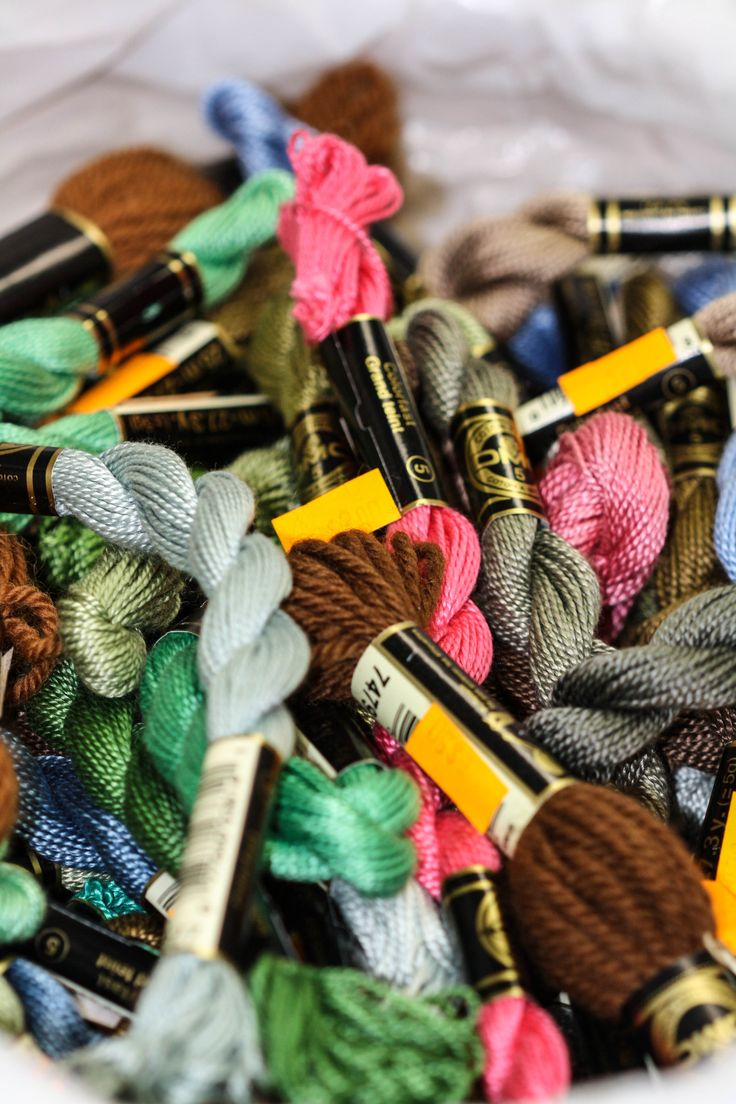A variety of threads available for stitching. https://www.wool-tyme.com/shop/needlework