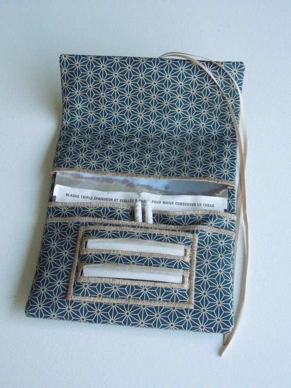 Blague à tabac / Pochette à tabac pratique en tissu japonais bleu de prusse motif petit asanoha